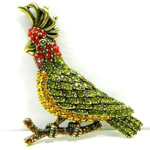 VTG Antique Gold Crystal Encrusted Cockatoo Brooch